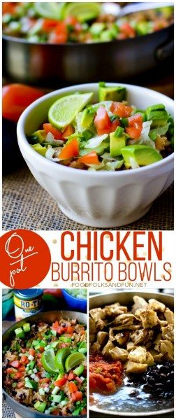 One Pot Chicken Burrito Bowls picture collage for Pinterest.