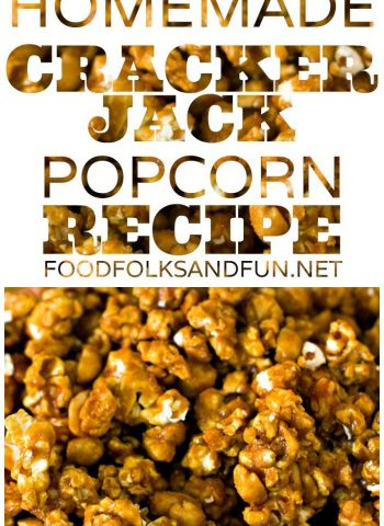 A close-up of Cracker Jacks with text overlay for Pinterest
