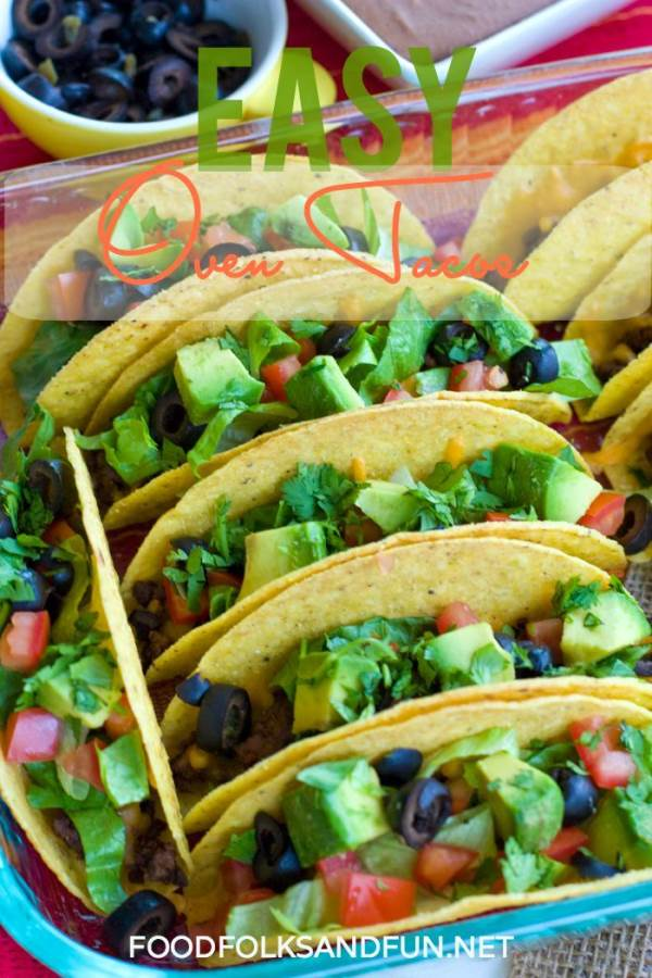 Oven Tacos in a baking dish with text overlay for Pinterest