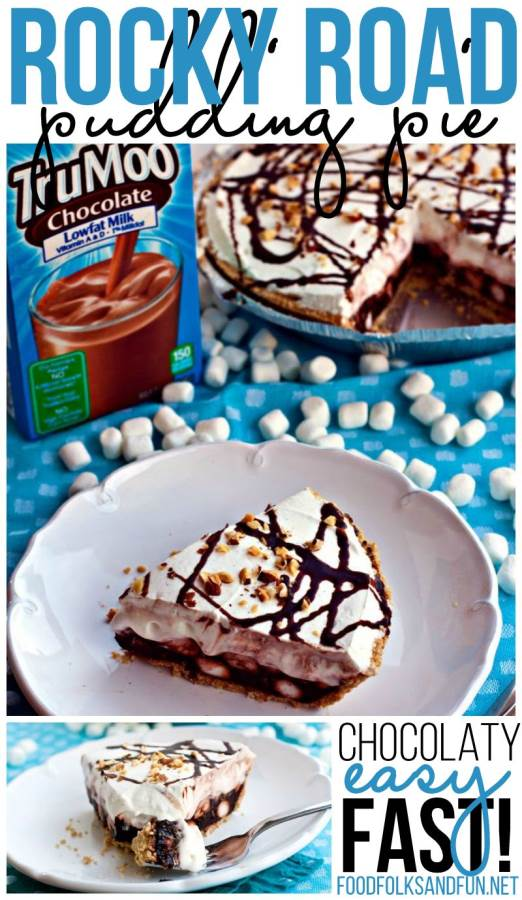 One slice of Rocky Road Pie on a plate with the remaining pie and chocolate milk in the background