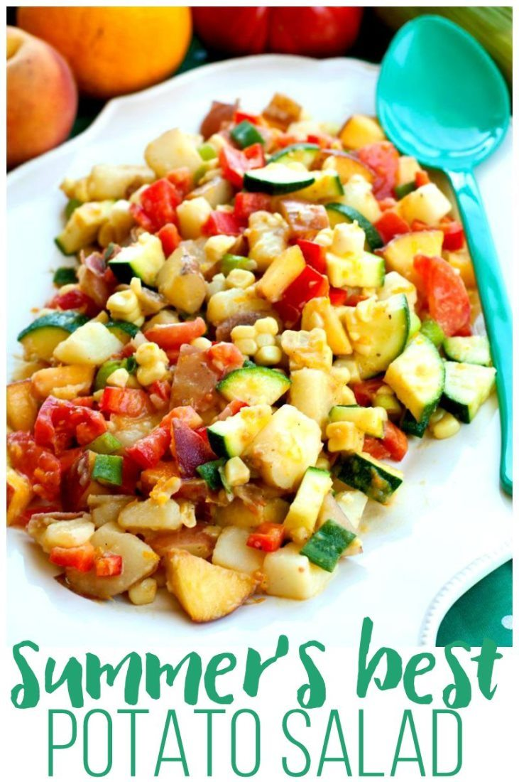 Summer\'s Best Potato Salad in a large serving bowl with text overlay for Pinterest