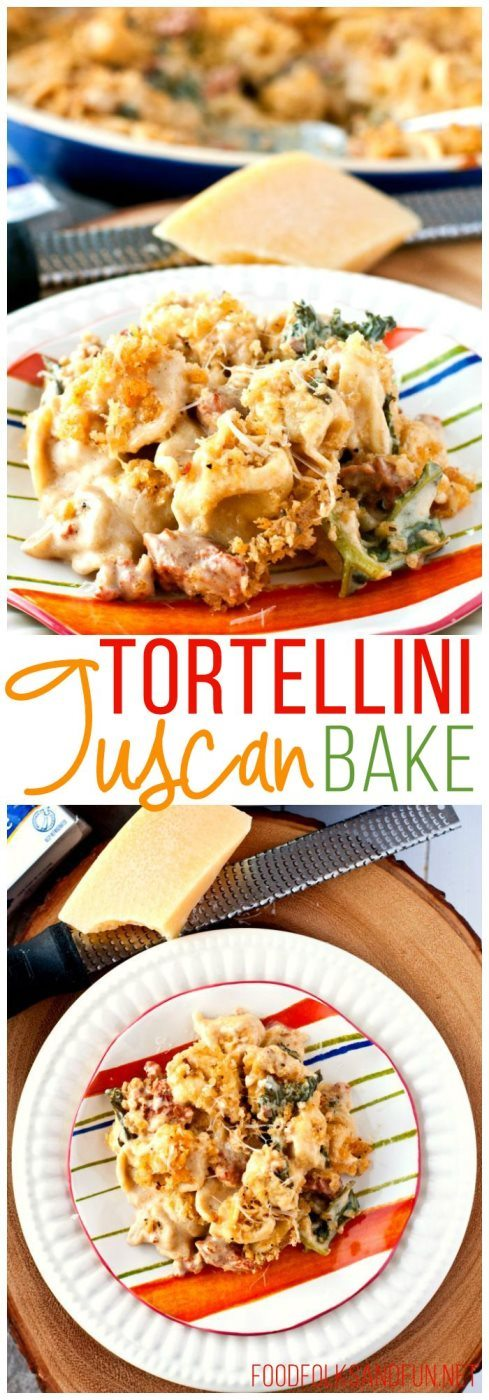A collage of Tortellini Tuscan Bake with text overlay for Pinterest