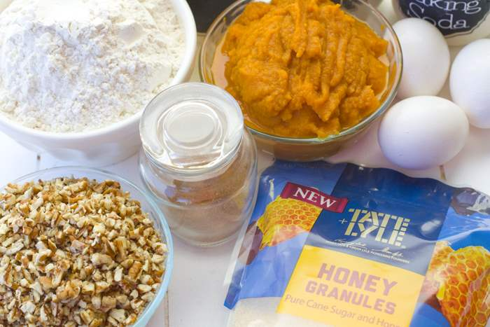 All of the ingredients for this pumpkin honey bundt cake.