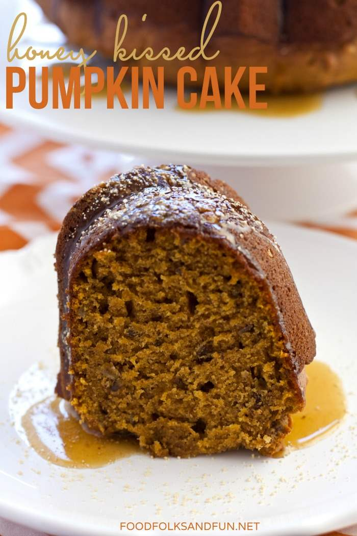 This Honey Kissed Pumpkin Cake is laced with pecans and it is sweetened with tasty honey flavor. Serve this pumpkin cake for dessert or for brunch! via @foodfolksandfun