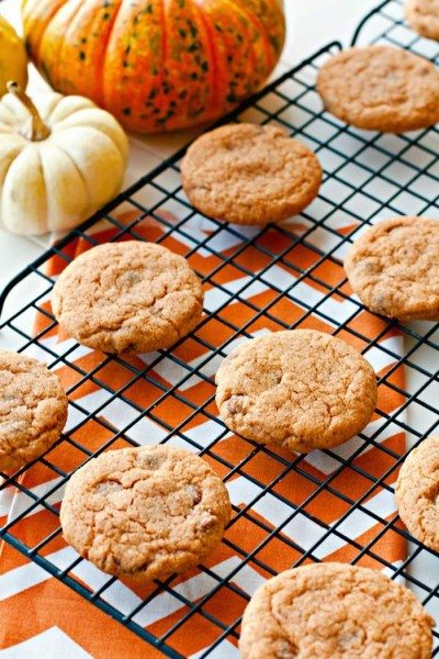 Pumpkin pudding cookies on a wire cooling rack with little pumpkins in the background.