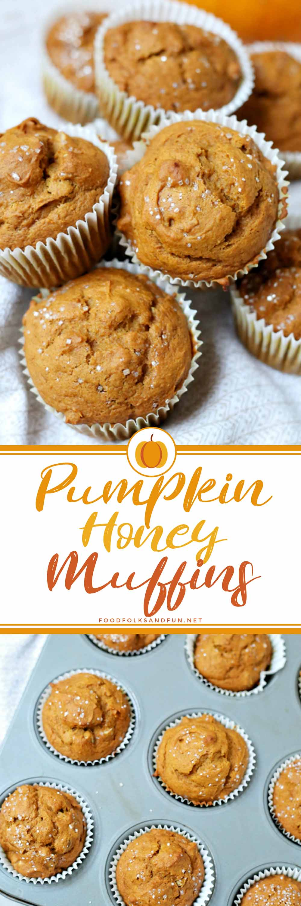 These Pumpkin Honey Muffins are easy to make and are made with honey instead of sugar! They're also an easy breakfast option for weekdays or holidays! via @foodfolksandfun