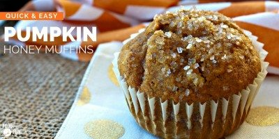 Pumpkin muffin with sparkling sugar on top.