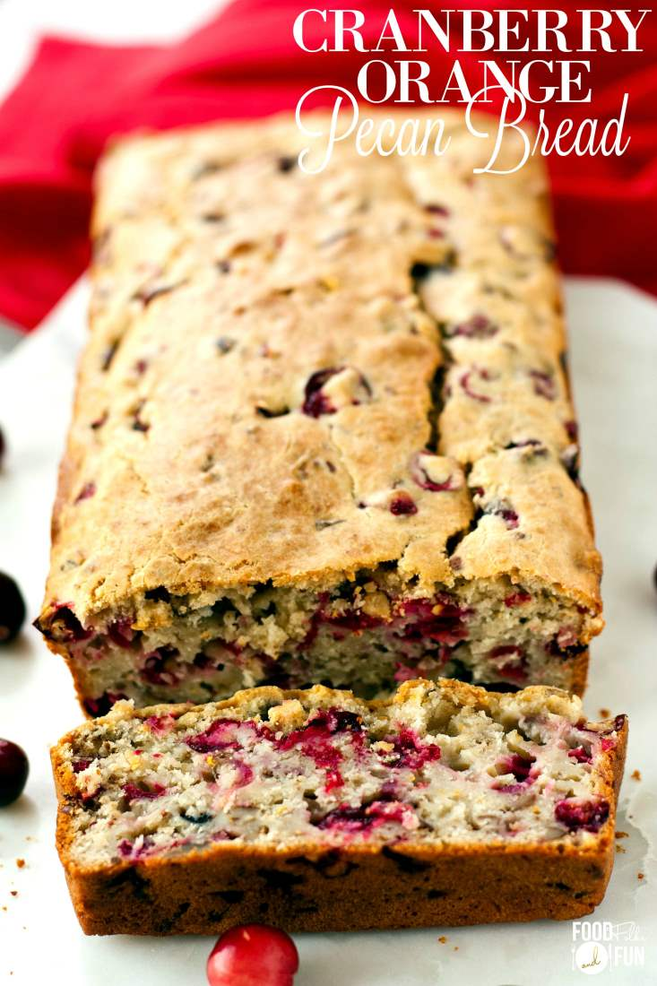 Cranberry bread with a piece cut off.