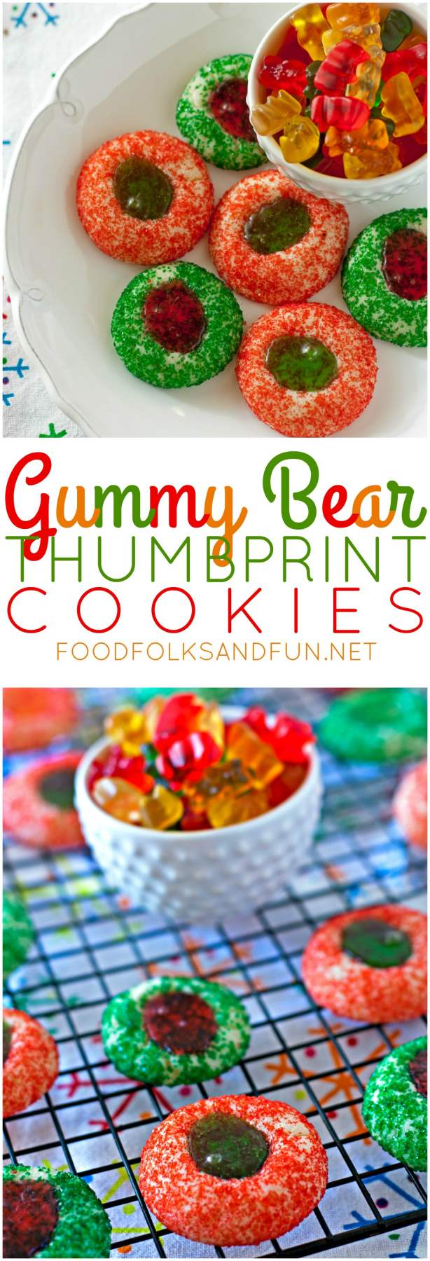 Gummy Bear Thumbprint Cookies with Text overlay for Pinterest