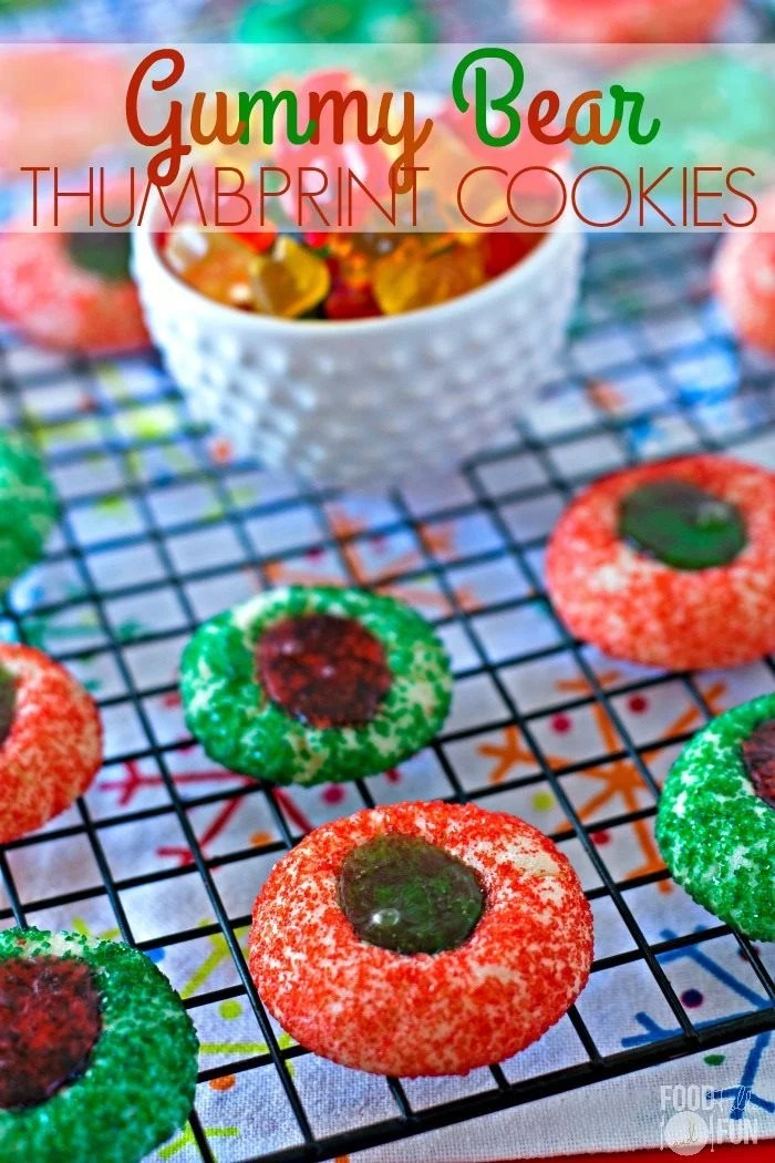 Gummy Bear Thumbprint Cookies on a wire rack