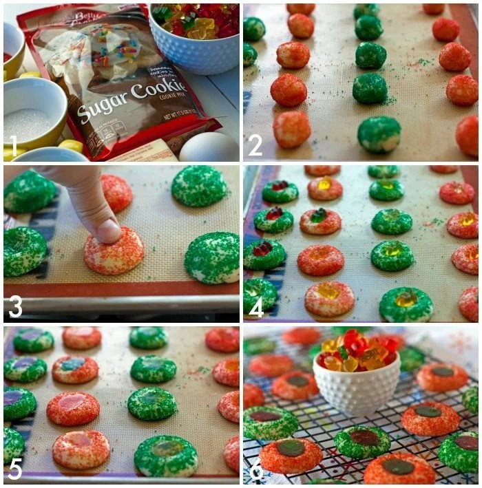 A collage of process shots making Gummy Bear Thumbprint Cookies with text overlay for Pinterest