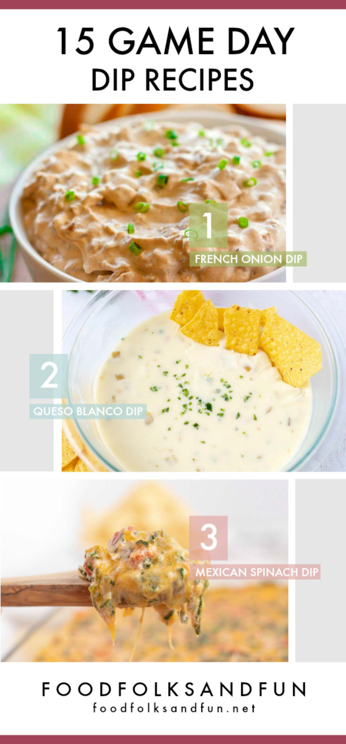 A collage of game day dips with text overlay for Pinterest