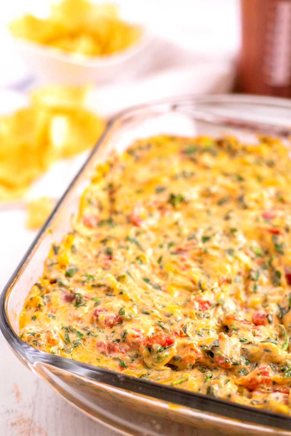Mexican Spinach Dip in a baking dish