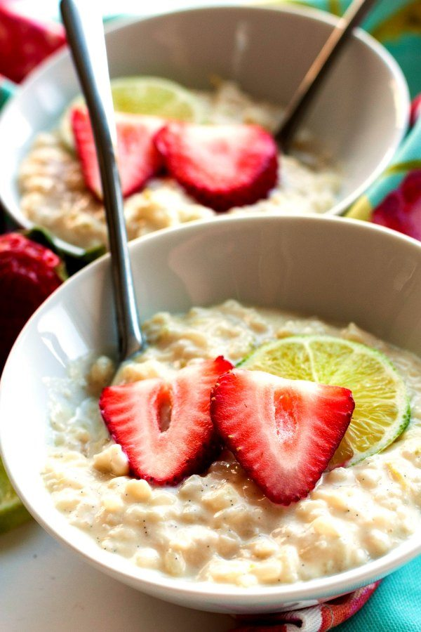 A bowl of Zesty Lime Rice Pudding