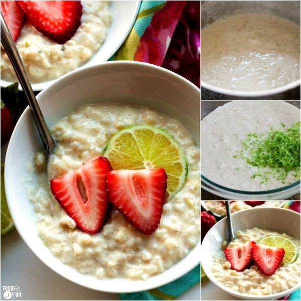 A collage of making lime rice pudding with strawberries
