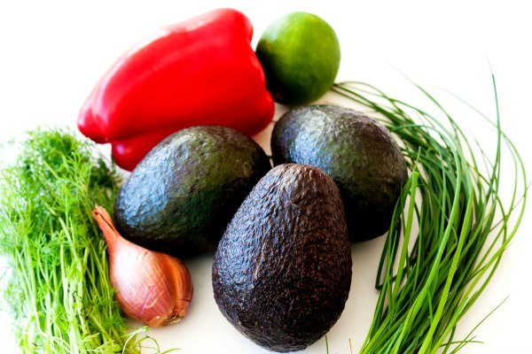 Ingredients needed for Garden Veggie Guacamole