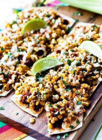 Mexican Street Corn Flatbread on a cutting board