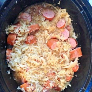 Process shot of Kielbasa Kapusta in a slow cooker