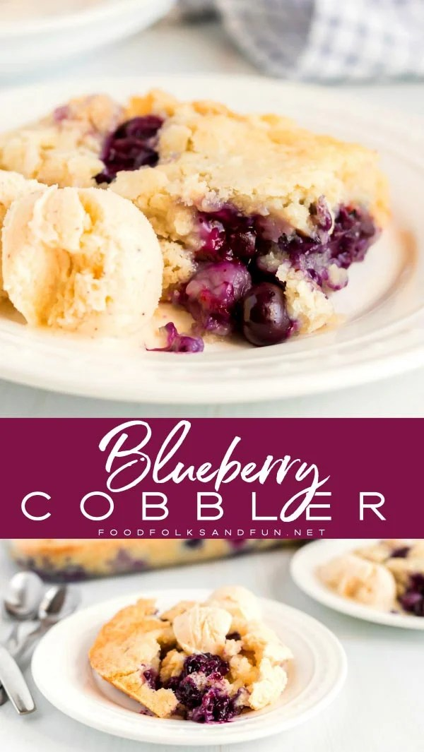 Texas-Style Blueberry Cobbler is just as much about the blueberries as it is about the cake! The cake bakes beautifully around the blueberries and it develops these crispy, buttery edges that you'll end up dreaming about! via @foodfolksandfun