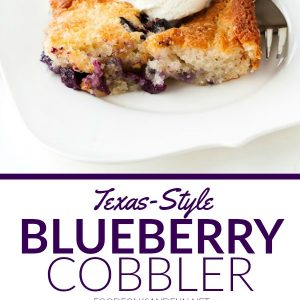 A slice of Texas Blueberry Cobbler with text overlay for Pinterest.