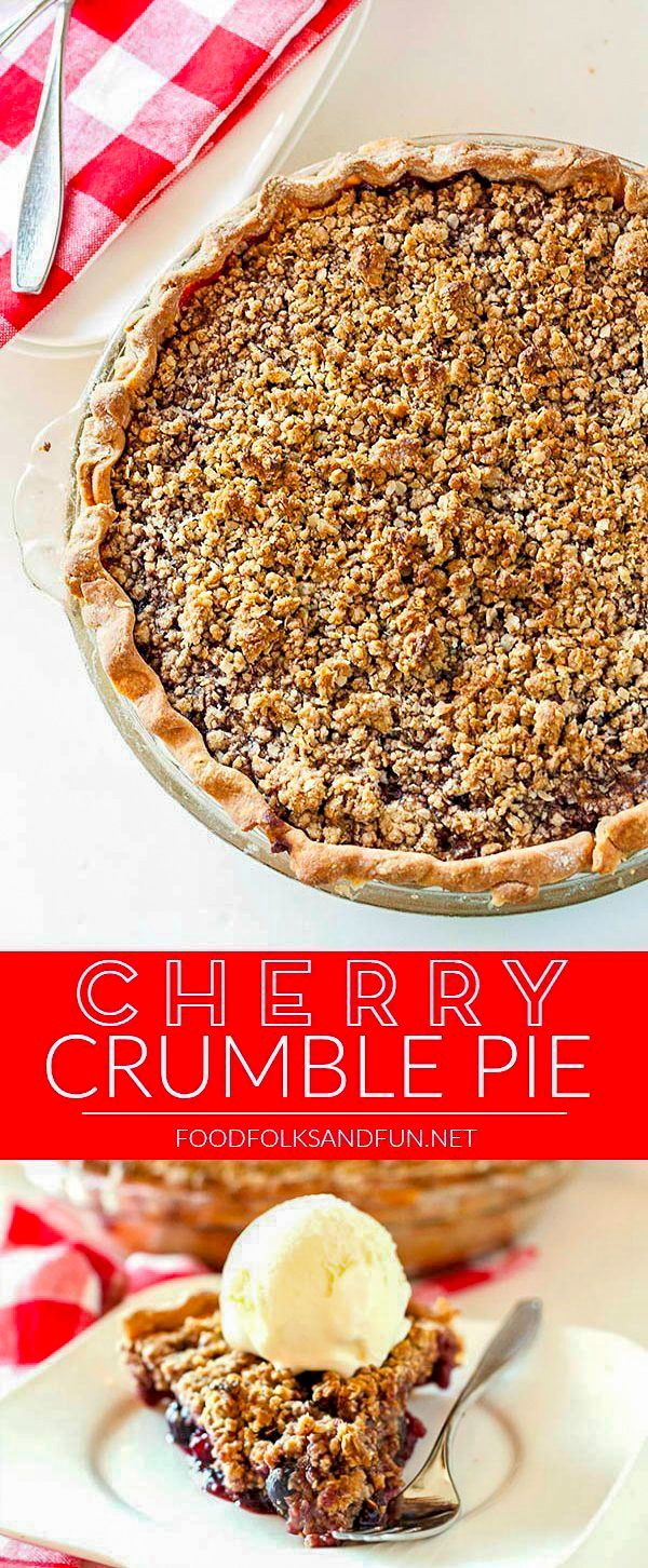 Picture collage of cherry crumble pie for Pinterest.