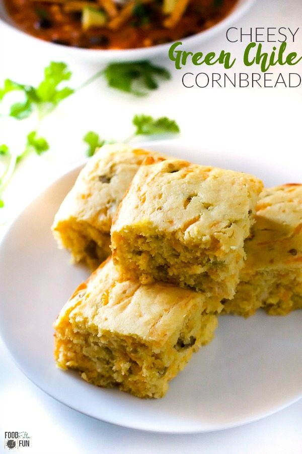 Cornbread with cheddar cheese and chopped green chiles. This Cheesy Green Chile Cornbread is perfect for early fall and green chile season! via @foodfolksandfun