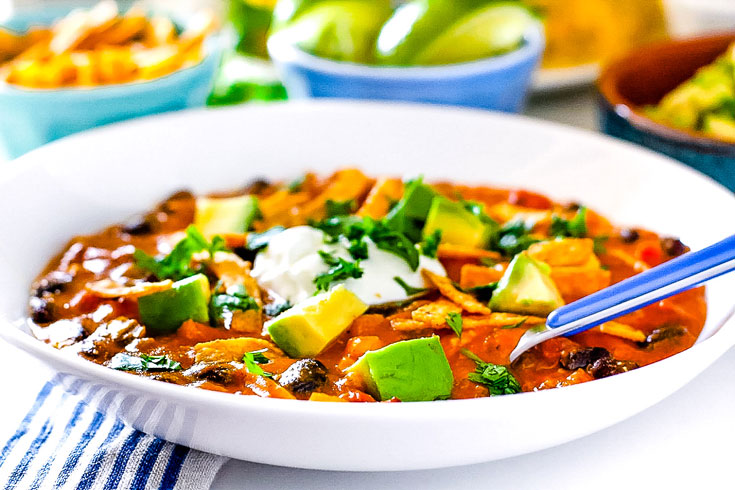 A bowl of Chicken Enchilada Soup