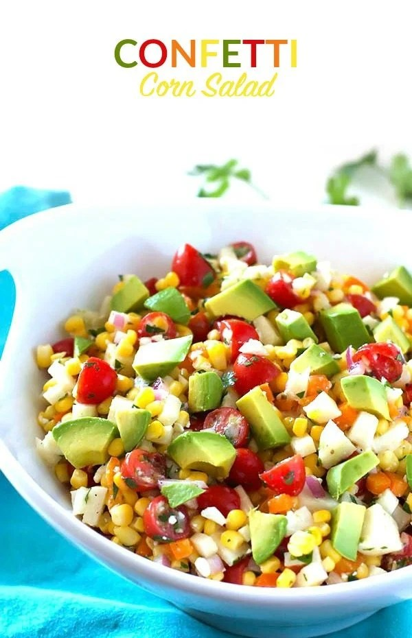This Confetti Corn Salad is a refreshing, light side dish that's perfect for summer dinners, potlucks, parties, and more!
