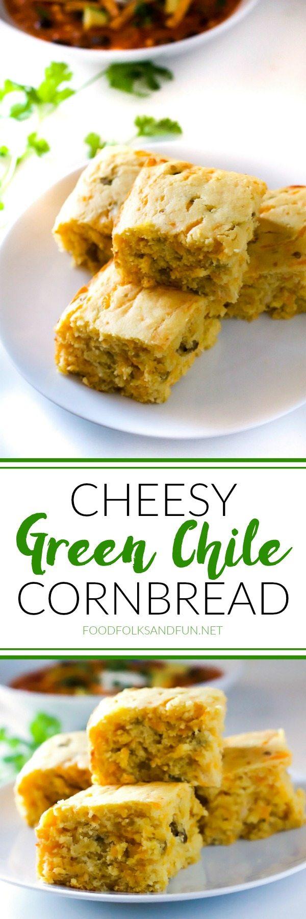 Picture collage of cheesy green chile cornbread.