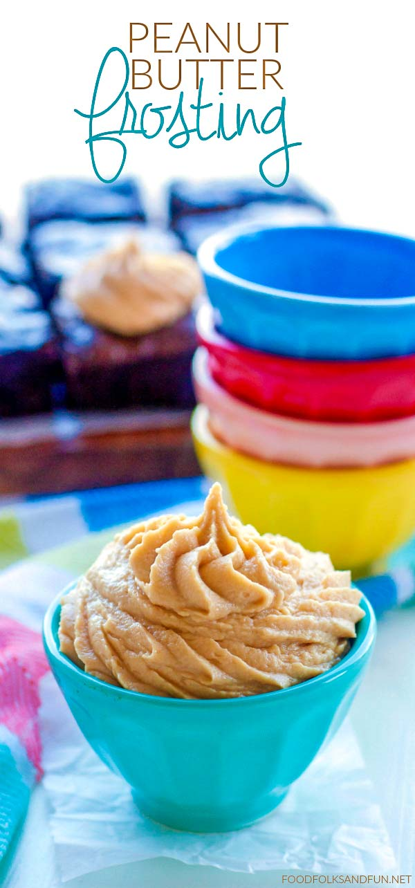 This peanut butter frosting is light, creamy, and it has just the right amount of sweetness. This recipe is the perfect frosting for brownies and chocolate cake! via @foodfolksandfun