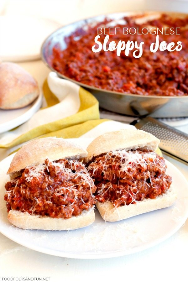 This Beef Bolognese Sloppy Joes recipe is just the thing for easy, weeknight, family-friendly meals. Everyone will love this Italian twist on Sloppy Joes! via @foodfolksandfun