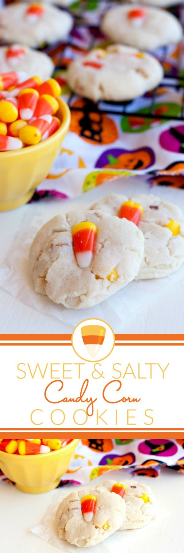 These Sweet & Salty Candy Corn Cookies are perfect for Fall treat. The base recipe is Paradise Bakery's world-famous sugar cookie recipe. via @foodfolksandfun