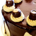 A close-up of Buckeye Brownie Cheesecake