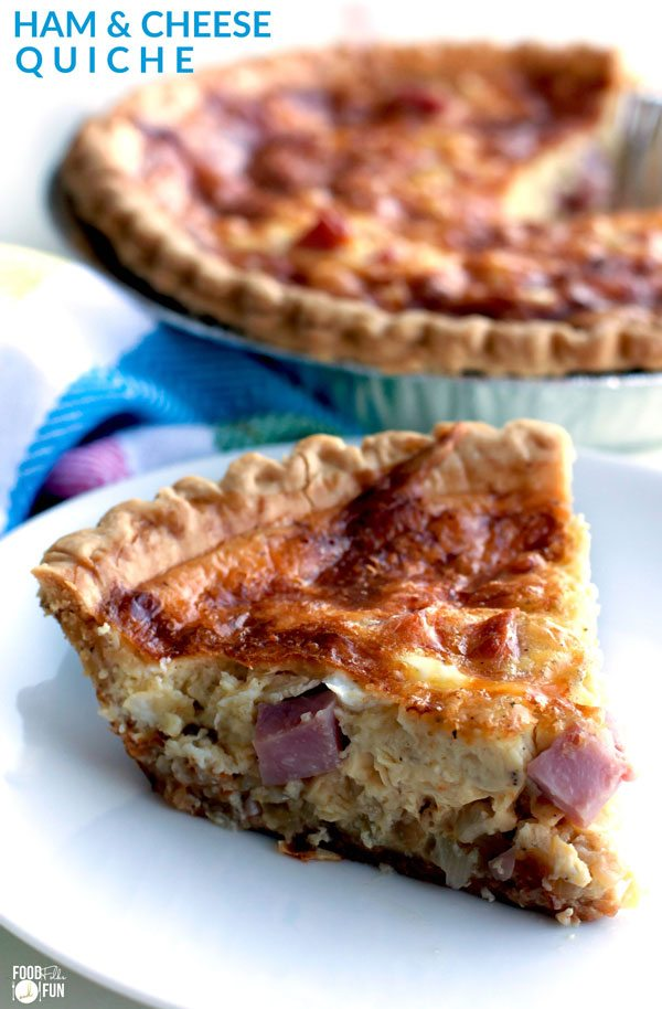 This easy ham and cheese quiche recipe has a creamy smooth custard interior, and it's filled to the brim with ham and Swiss cheese. It's perfectfor breakfast, brunch, lunch, or dinner! via @foodfolksandfun