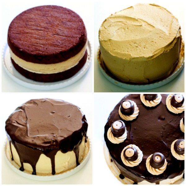 Process shots of how to make Buckeye Brownie Cheesecake Cake