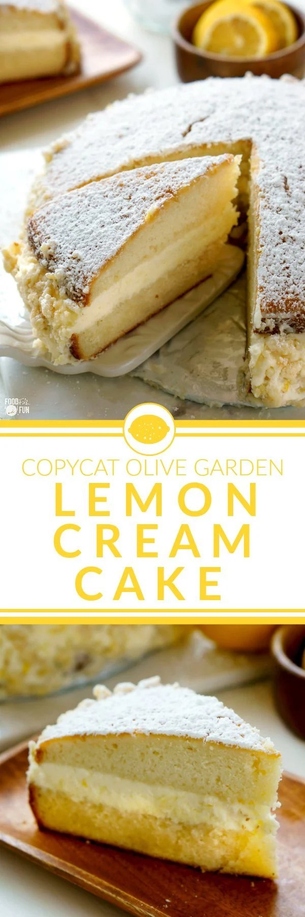 This Copycat Olive Garden Lemon Cream Cake is completely homemade, and is every bit as good as the original—and dare I say, even better! via @foodfolksandfun