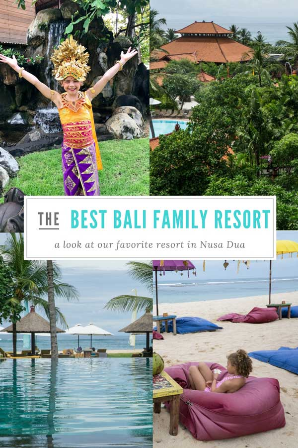A collage of the best family resort in Bali with text overlay for Pinterest