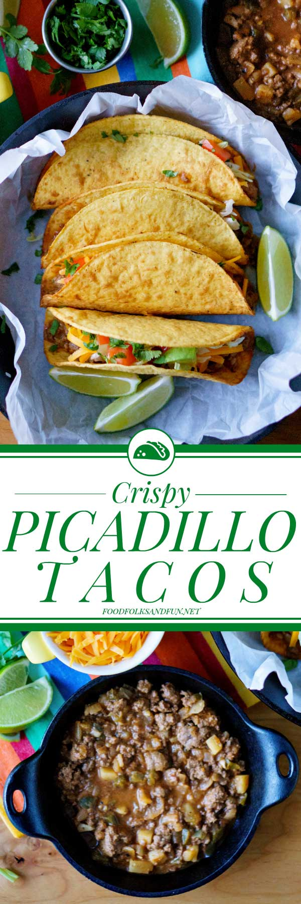 This Picadillo Tacos recipe (Tacos de Picadillo) makes crispy ground beef and potato tacos that are so easy to make. This recipe serves 10 and costs $11.14 to make. That's just $1.11 per serving!  via @foodfolksandfun