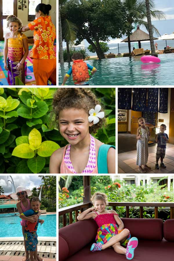 A collage of activities for the kids at a resort in Bali