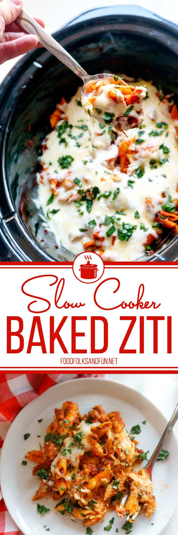 This Slow Cooker Baked Ziti recipe is the perfect dinner recipe for year-round cooking. It's great for weeknight dinners and for company! Plus, it tastes pretty amazing--I mean just look at all of that melty cheese! #slowcooker #crockpot #dinner #pasta #carbs #ItalianFood #ItalianRecipe #foodfolksandfun via @foodfolksandfun