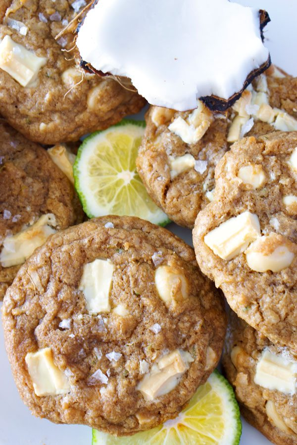 Paradise Cookies with White Chocolate, Macadamia Nuts, Coconut, Lime Zest, and Sea Salt