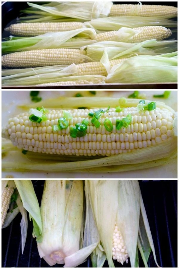 Picture collage of how to smoke corn on the cob.