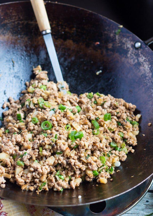 San Choy Bow in a wok