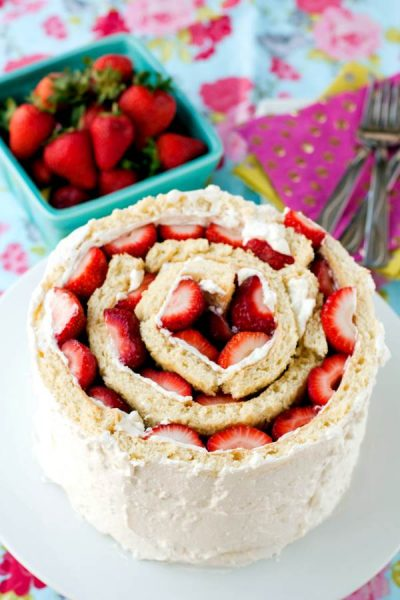A top view of strawberry shortcake roll up cake