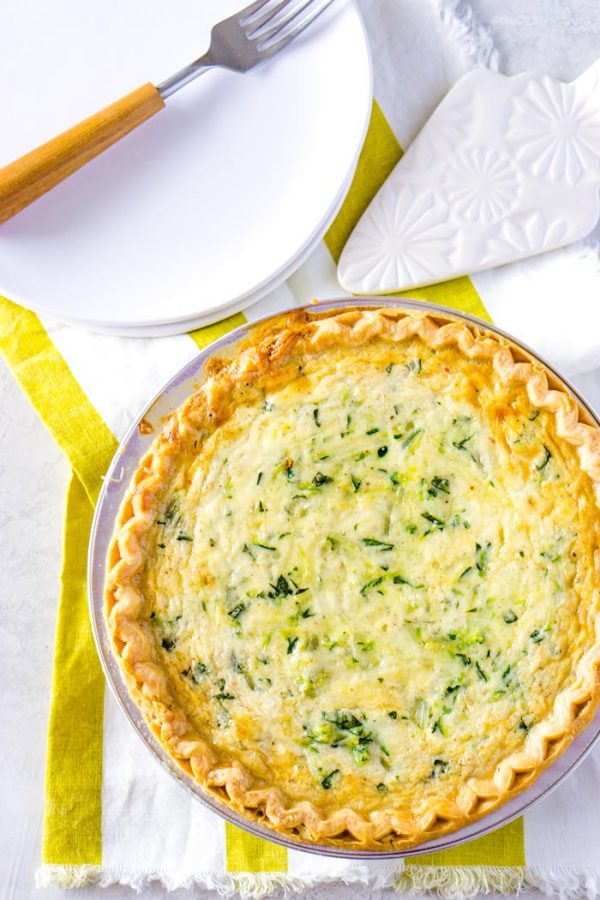 Cheesy Zucchini Quiche with basil for summer time dinners