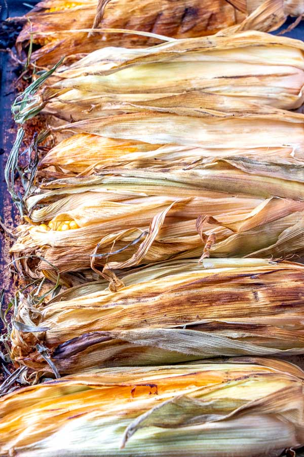 How to smoke corn on the cob with the husks on.