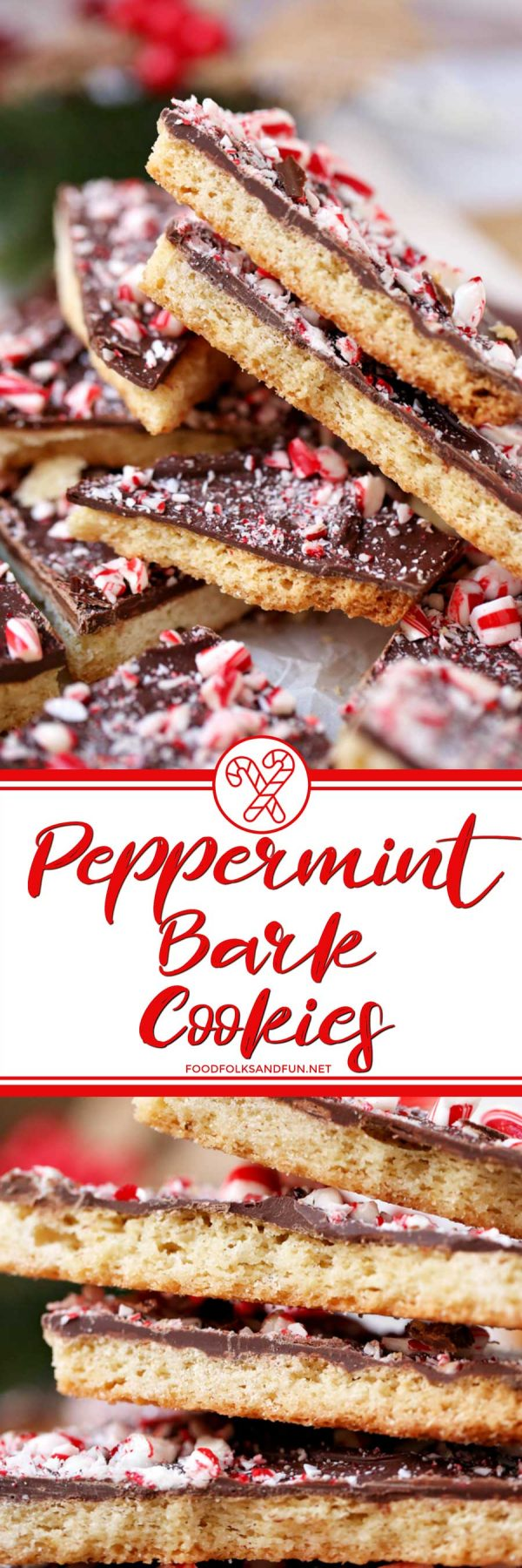 These Peppermint Bark Cookies bring together everything you love about shortbread AND everything you love about peppermint bark in one bite! via @foodfolksandfun