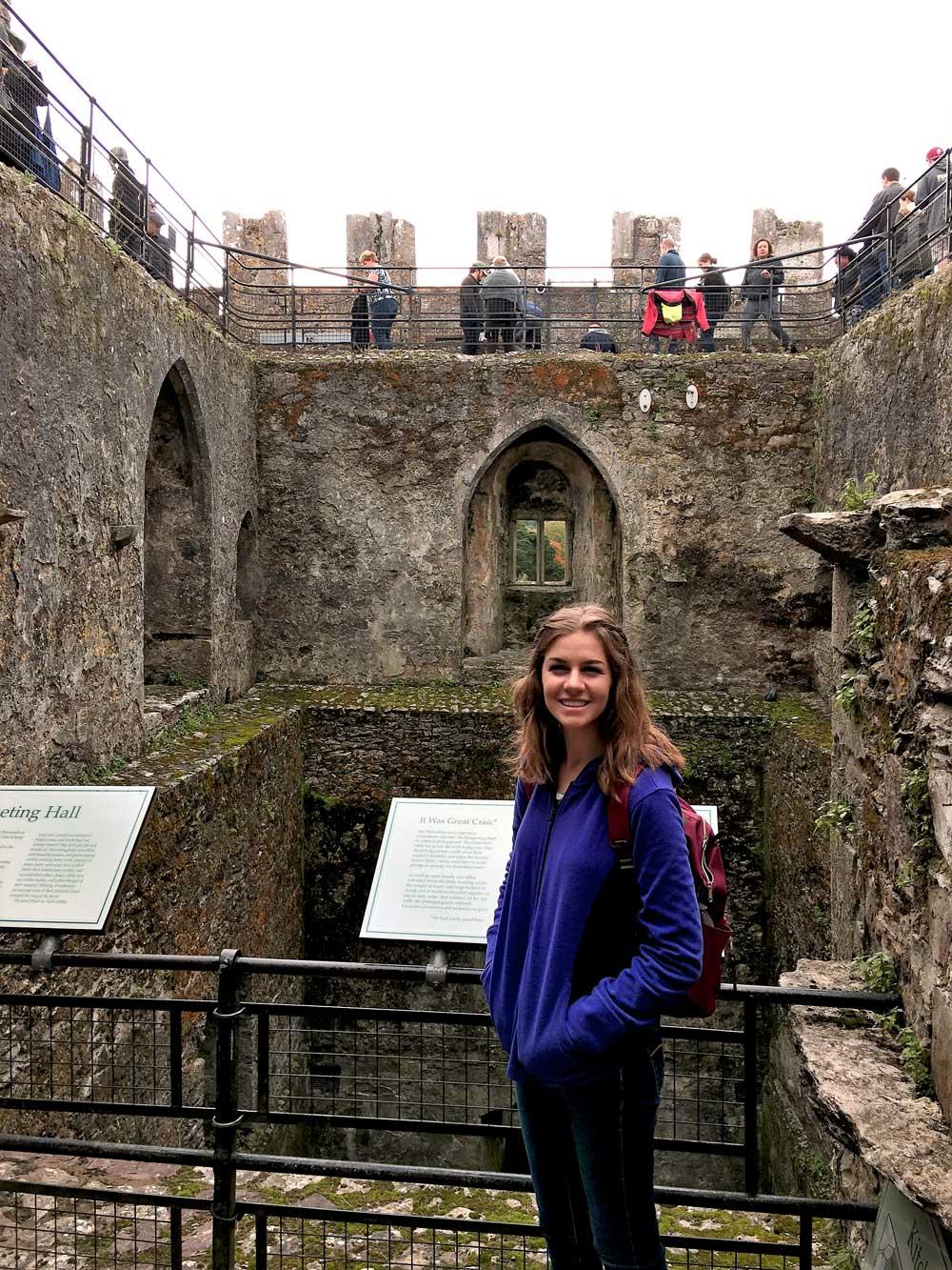 Touring inside Blarney Castle.