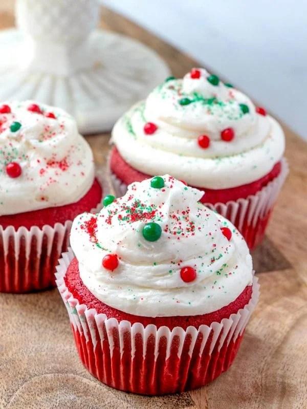 Cupcakes with Christmas sprinkles.