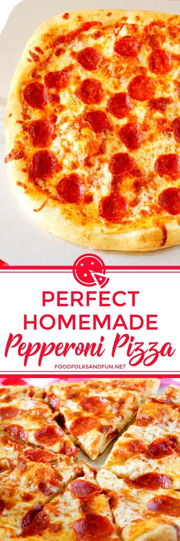 Pepperoni Pizza made from scratch! This is the BEST Homemade Pizza Recipe, and you'll be craving this pizza weekly! Learn my tips and tricks and you'll be making pizza like a pro in no time! via @foodfolksandfun